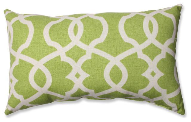 Blue Lattice Throw Pillow : Lattice Damask Blue Rectangular Throw Pillow, Leaf - Transitional - Decorative Pillows - by ...