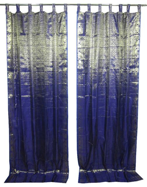 2 Sari Curtains Navy Blue Brocade Silk Sari Window Panels Drapes Curtain Window Asian Curtains