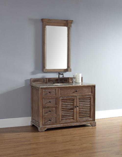 48 Inch Savannah Driftwood Grey Single Sink Vanity Beach Style Bathroom Vanities And Sink