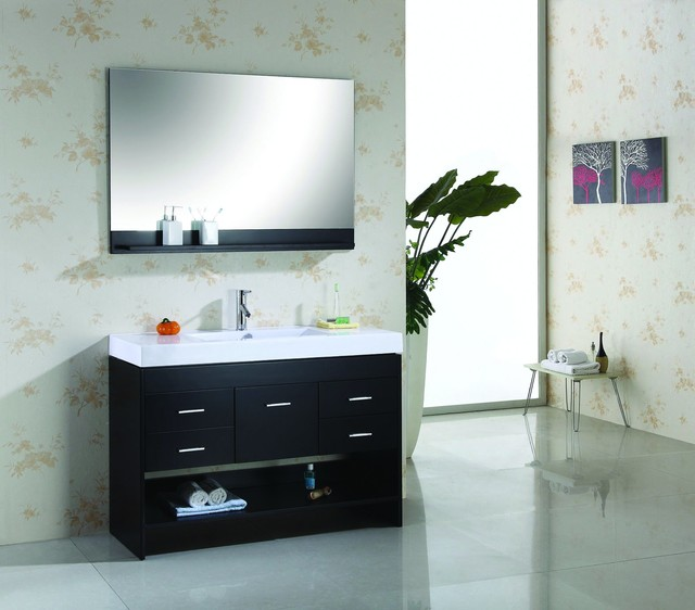 Virtu usa 48 gloria espresso single sink bathroom vanity modern bathroom vanities and for Single sink consoles bathroom