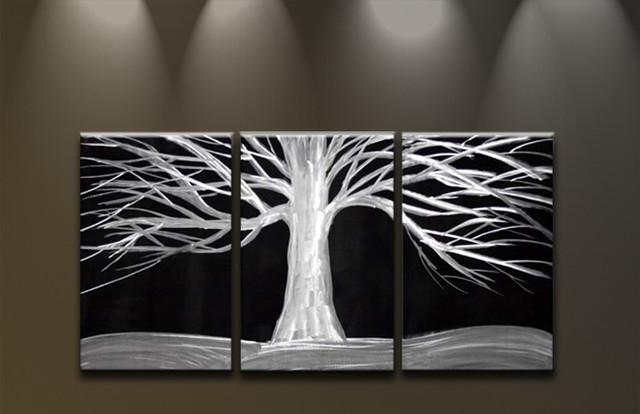 Metal Tree Wall Art Gallery: Metal Wall Art White Tree On Black