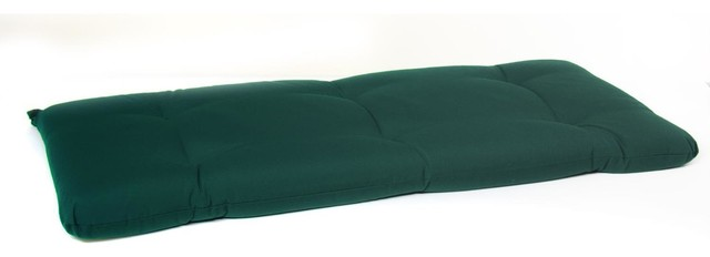 Small Replacement Tufted Bench Cushion Canvas Forest Green Modern Seat Cushions By