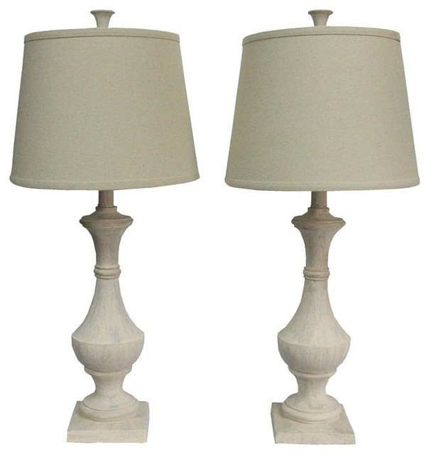 marion table lamps weathered white set of 2 farmhouse. Black Bedroom Furniture Sets. Home Design Ideas