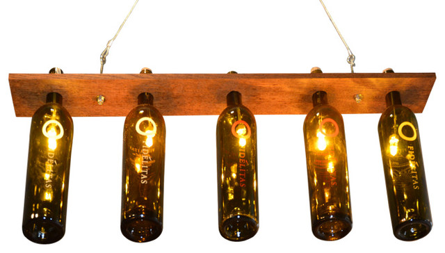 Custom Made Wine Bottle Chandelier Made With Wood Rustic