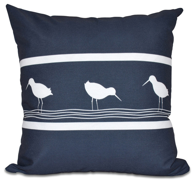 Birdwalk, Animal Print Outdoor Pillow, Navy Blue, 18