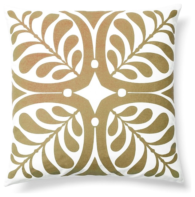 Modern Contemporary Graphic Home Decor Accent Pillow Print, Taupe transitional-decorative-pillows