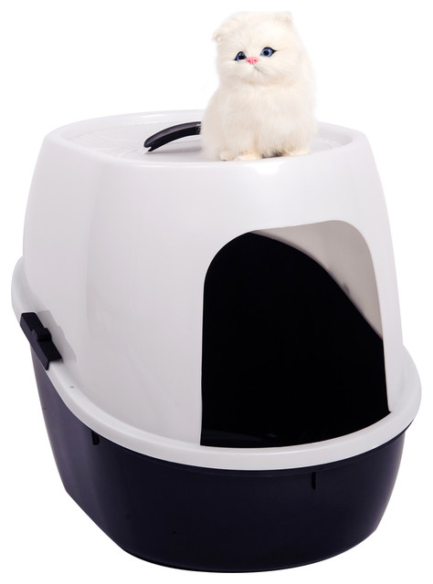 Favorite 21 Inch Side Entry Cat Litter Box In White