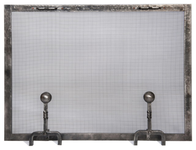 forged iron fireplace screen with ball andiron feet small