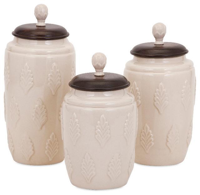 Imax Beth Kushnick 73359 3 Ceramic Lidded Canisters Cream