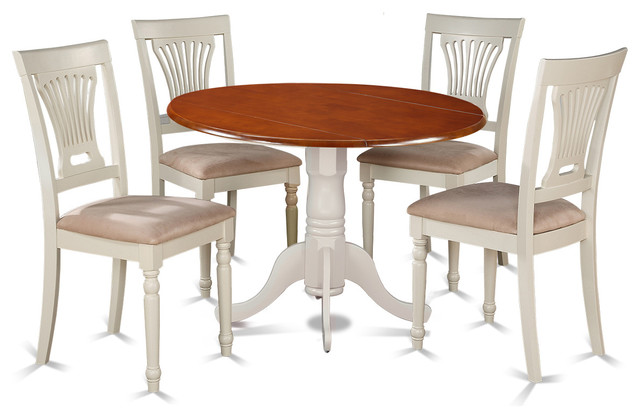 Dining Table Set White And Cherry 5 Pieces Microfiber Dining Sets