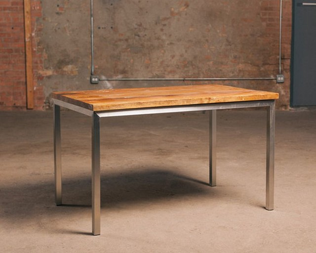 Reclaimed Wood Table with Stainless Steel Base Rustic  : rustic dining tables from www.houzz.com size 640 x 512 jpeg 57kB