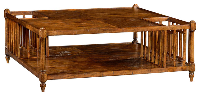 jonathan charles rustic walnut square coffee table with