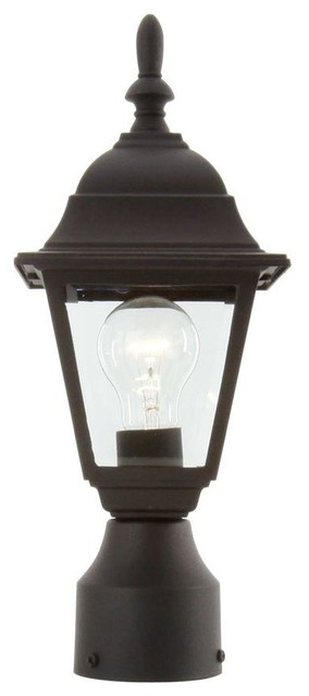 Hampton bay posts 1 light black outdoor post lamp hb7026p for Contemporary outdoor post light fixtures