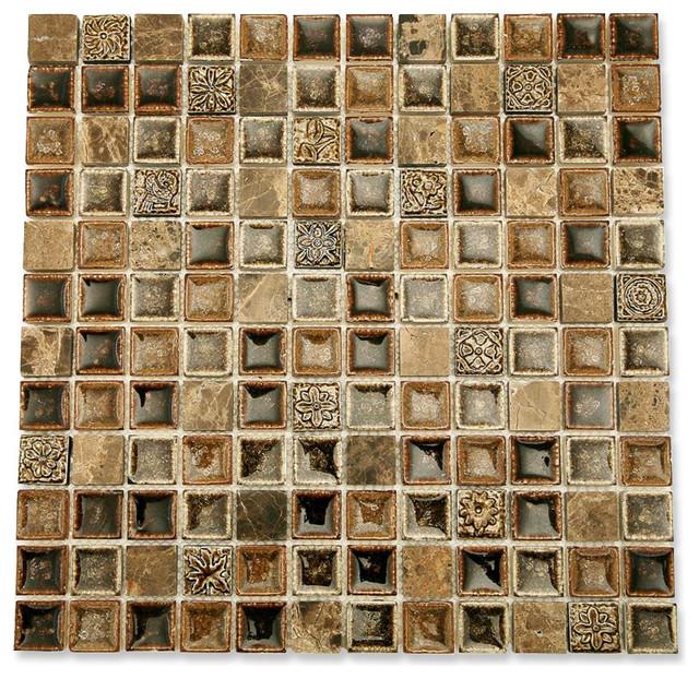 Roman collection chamoisee glass tile sheet contempor neo mosaico de azulejos de tilebar - Azulejos roman ...