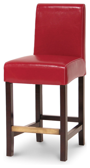 Hudson Leather Barstool Red With White Stitch 24
