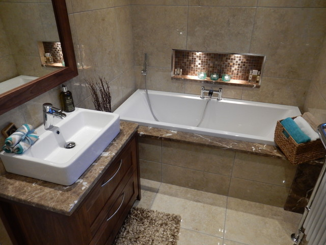 Emperador marble bathroom transitional bathroom for Bathroom ideas belfast