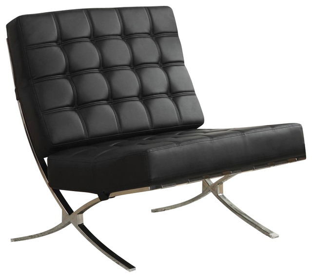 Coaster X style Chrome Legs Black Faux Leather Waffle ...