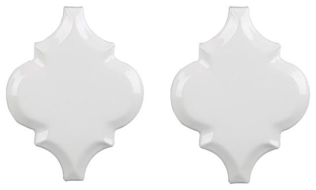 Arabesque Beveled Lantern Whisper White Glazed Ceramic Wall Tile ...