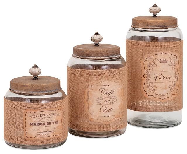vintage french lidded glass jars set of 3 farmhouse. Black Bedroom Furniture Sets. Home Design Ideas