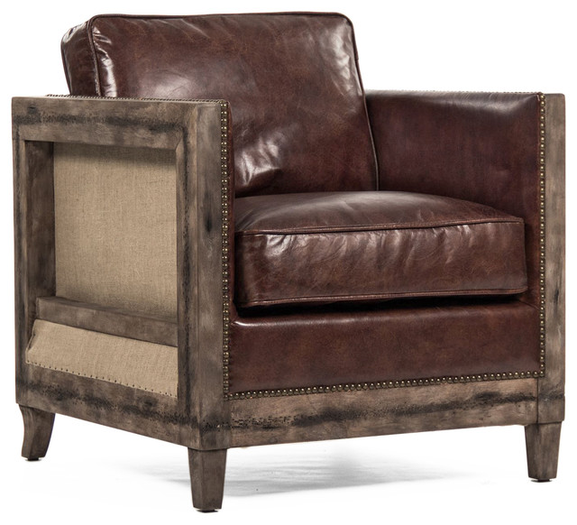 Beck Industrial Rustic Lodge Masculine Square Frame Brown Leather Club ...