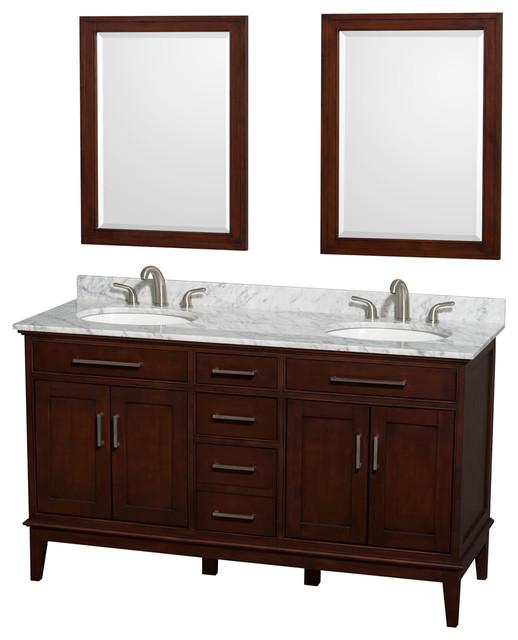 Hatton 60 dark chestnut dbl vanity carrera marble top - Muebles de lavabo ...