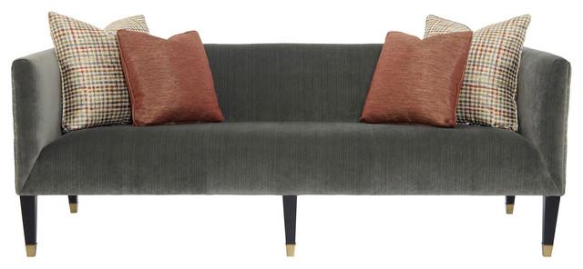 Catori classic grey velvet strie mod sofa modern for Button tufted chaise settee velvet aubergine