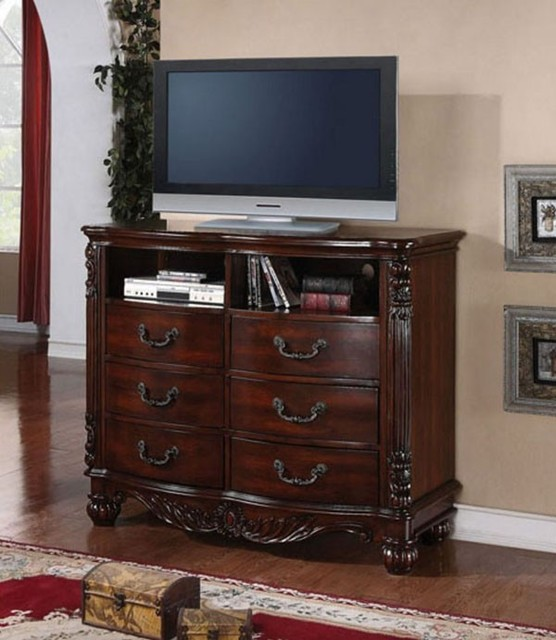 acme furniture jacob traditional dark cherry wood carving 6 drawer tv stand traditional. Black Bedroom Furniture Sets. Home Design Ideas