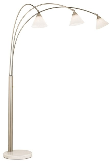 Pacific coast archway 3 light arc floor lamp brushed for Contemporary floor lamps gold coast