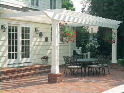 how to build a pergola attached to a brick house