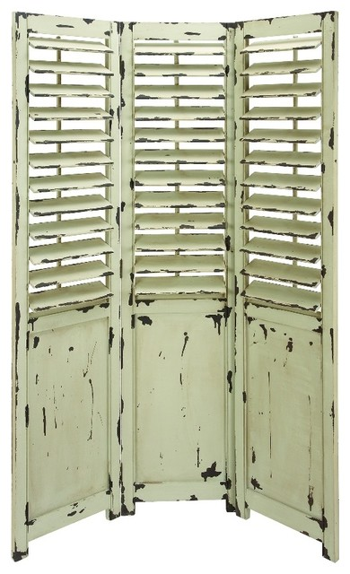 3 Panel Solid Wood Screen Room Divider Blinds Shades: Antique 3 Panel Room Divider Ivory Brown Rustic Charm