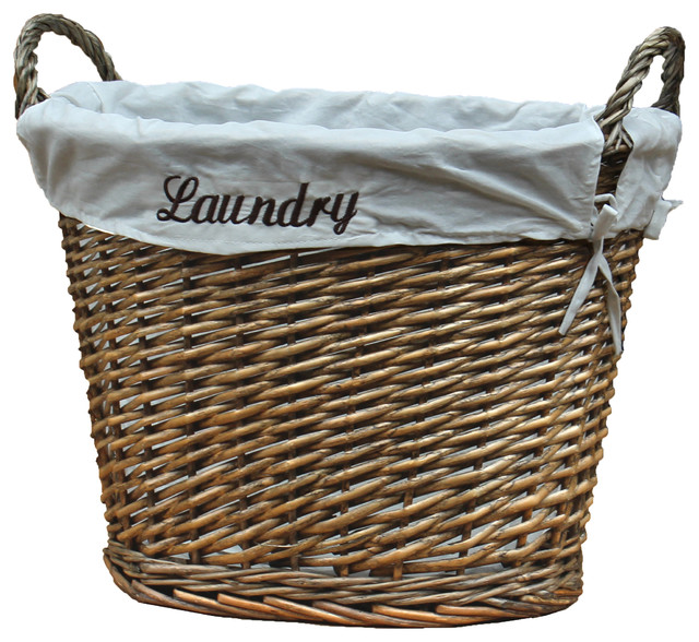 wicker laundry basket with white liner traditional laundry baskets by decorative gifts. Black Bedroom Furniture Sets. Home Design Ideas