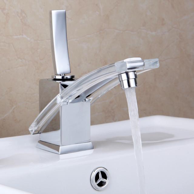 Smart Single Handle One Hole Bathroom Sink Faucet Modern