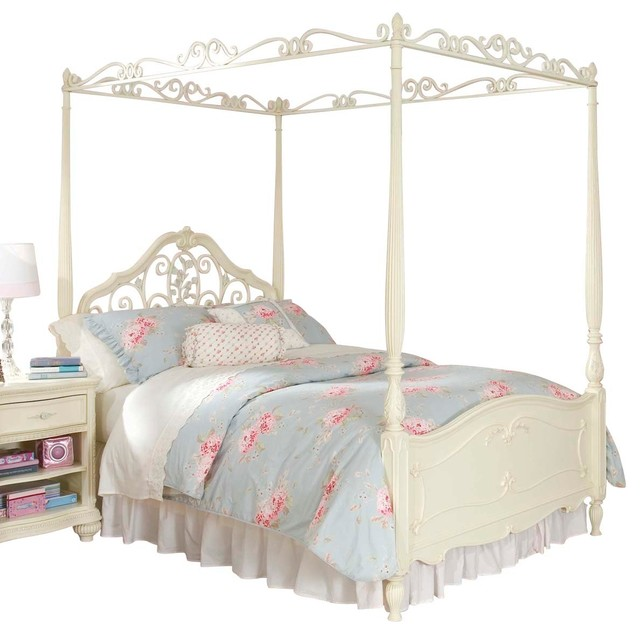 Lea Jessica Mcclintock Canopy Bed In Antique White Twin