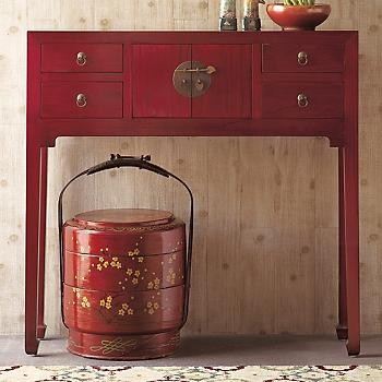 Red Lacquer Console Table Asian Side Tables And End Tables By Gump S