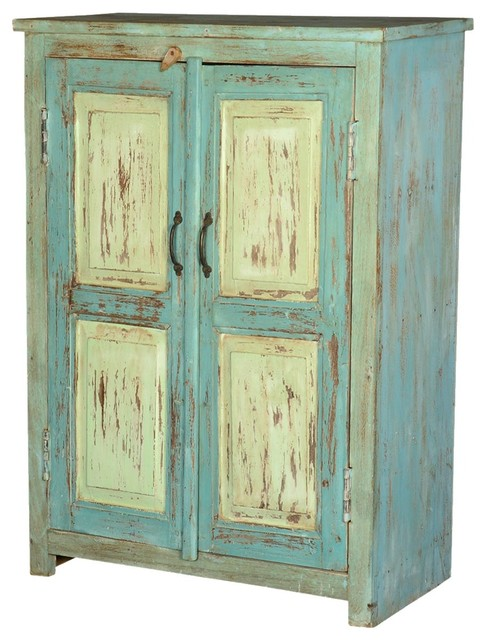 Julian Blue/Green Reclaimed Wood Storage Cabinet - Farmhouse - Accent Chests And Cabinets - by ...