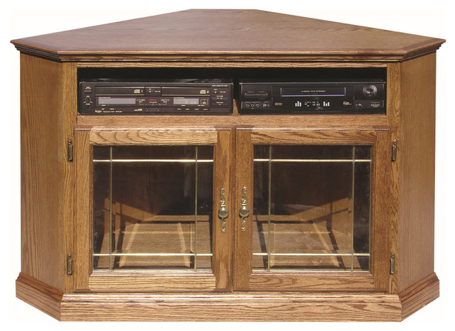 Traditional Corner TV Stand With Glass Doors - Traditional - Entertainment Centers And Tv Stands ...