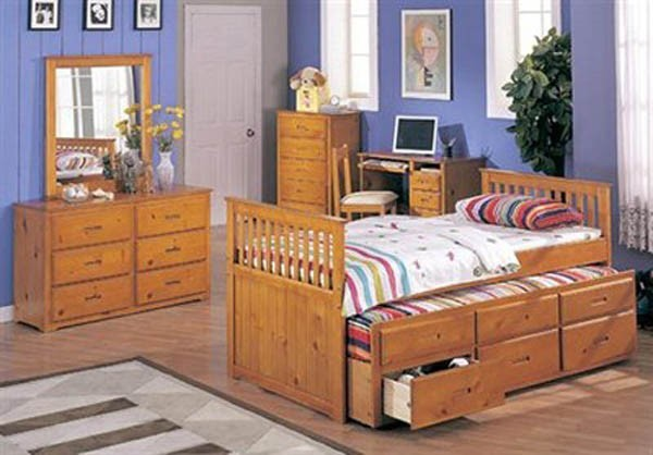 honey oak finish captain s bed traditional beds