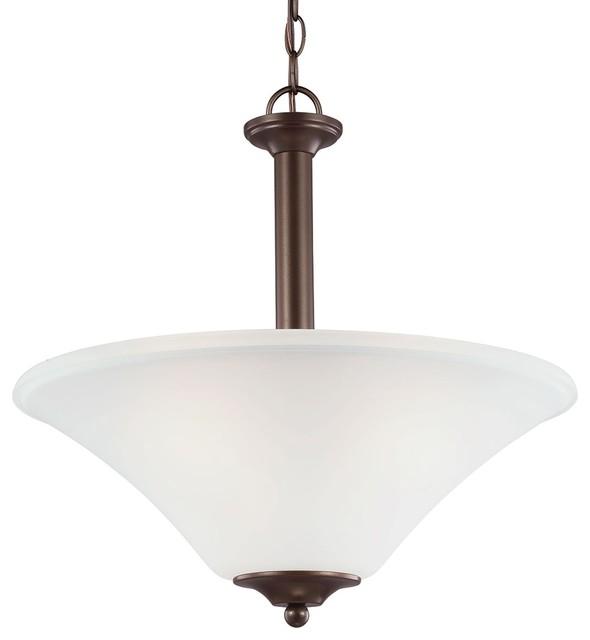 3 Light Pendant Bell Metal Bronze