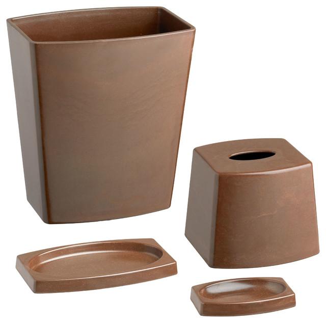 Kraftware My Earth 4 Piece Bathroom Set Chocolate Brown Modern Bathroom
