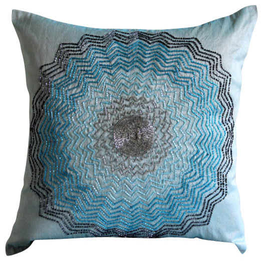 Hope Decorative Pillow : Blue Hope Tree Decorative Silk Throw Pillow Cover, 22x22 - Contemporary - Scatter Cushions