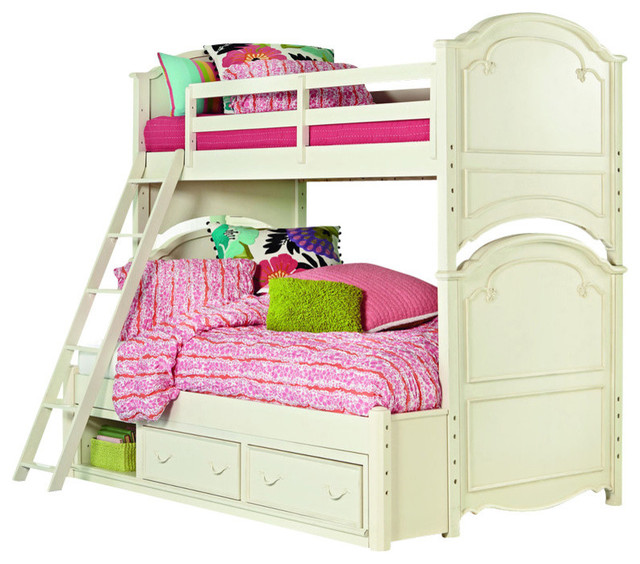 legacy classic kids charlotte twin over twin bunk bed with underbed storage a traditional. Black Bedroom Furniture Sets. Home Design Ideas
