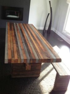 Reclaimed Wood Multi Colored Dining Table Rustic