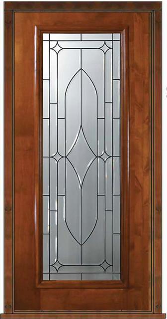 Prehung exterior single door 80 alder bourbon full lite for Single front doors with glass