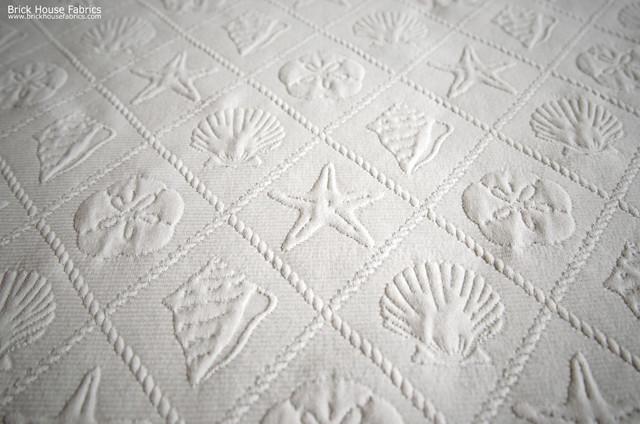 Seashell Fabric Ocean Trellis Starfish Sand Dollar Cream