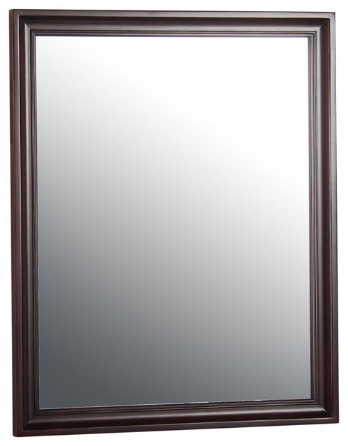 "Shawna 26"" Espresso Mirror Transitional Bathroom"