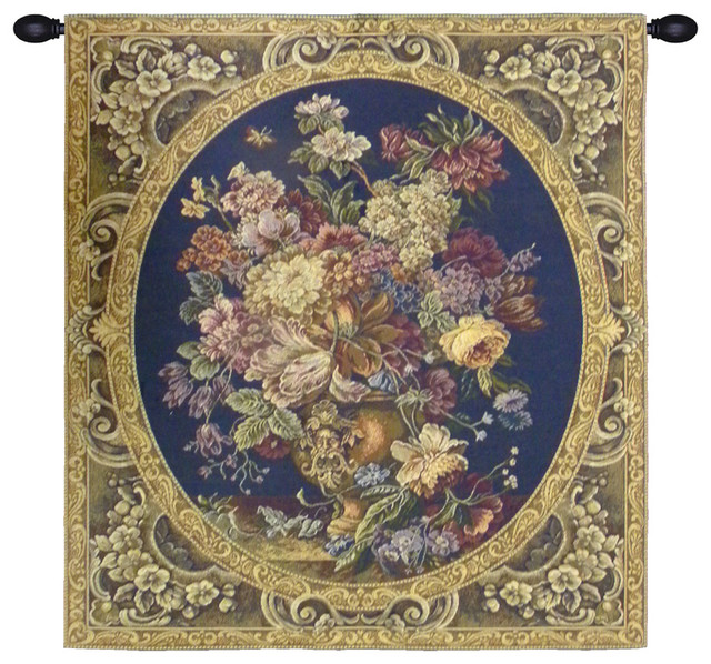 Floral Composition In Vase, Dark Blue, Wall Tapestry, 30 ...