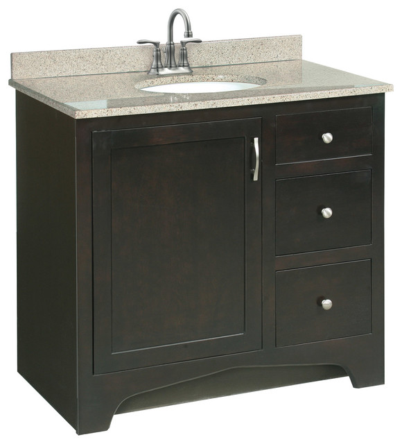 "Ventura 36""x21"" Vanity 1 Door 2 Drawer Ready to Assemble Espresso ..."