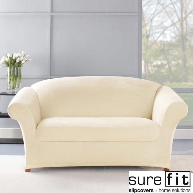 Stretch Plush Cream Loveseat Slipcover Contemporary