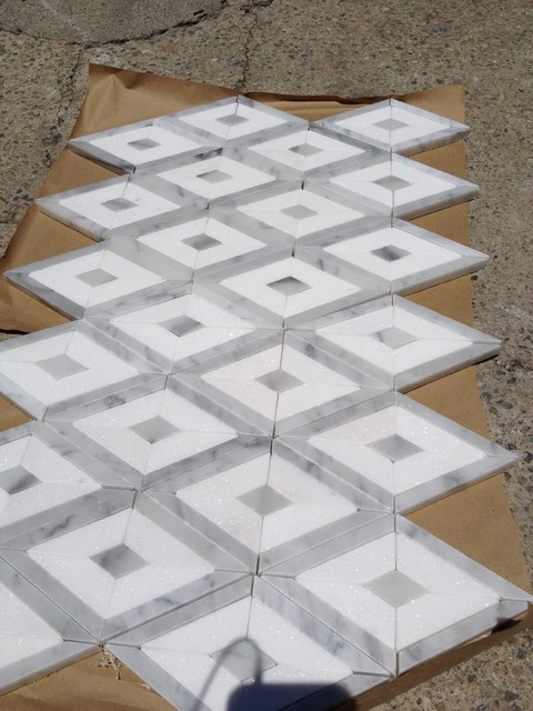 Custom Made Mosaic With Carrara White Marble And Thassos