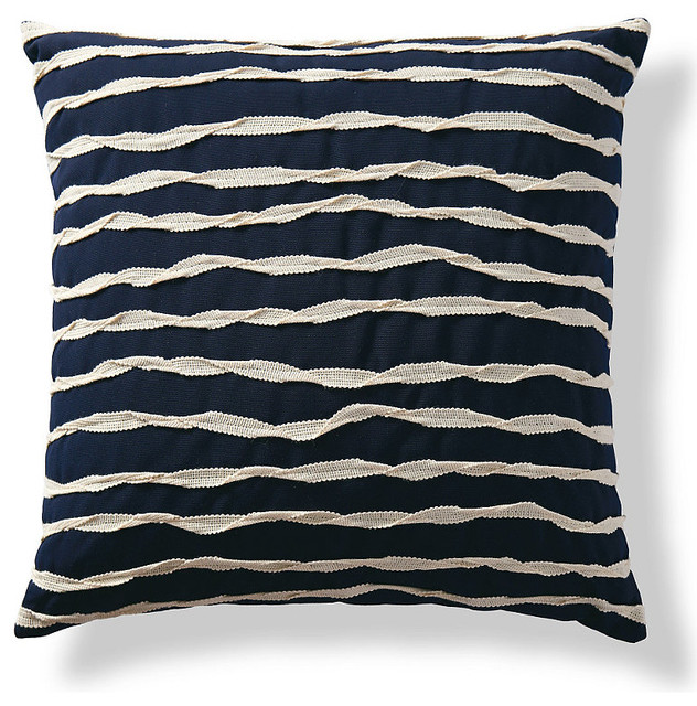 Twisted Ribbon Navy Outdoor Pillow - Traditional - Outdoor Cushions And Pillows - by FRONTGATE